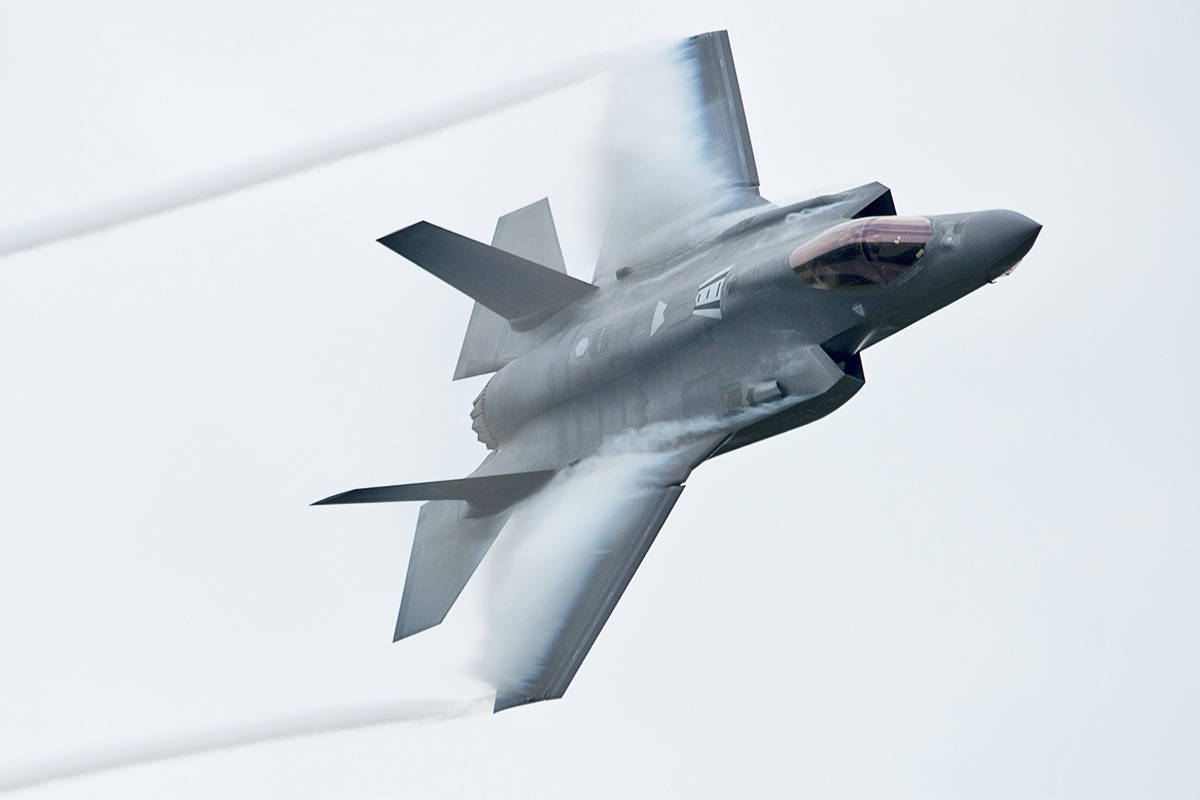 Local peace advocates want the public to speak out against the federal government buying new fighter jets, such as this F-35A that flew at an Ottawa air show in 2019. (Adrian Wyld/Canadian Press)
