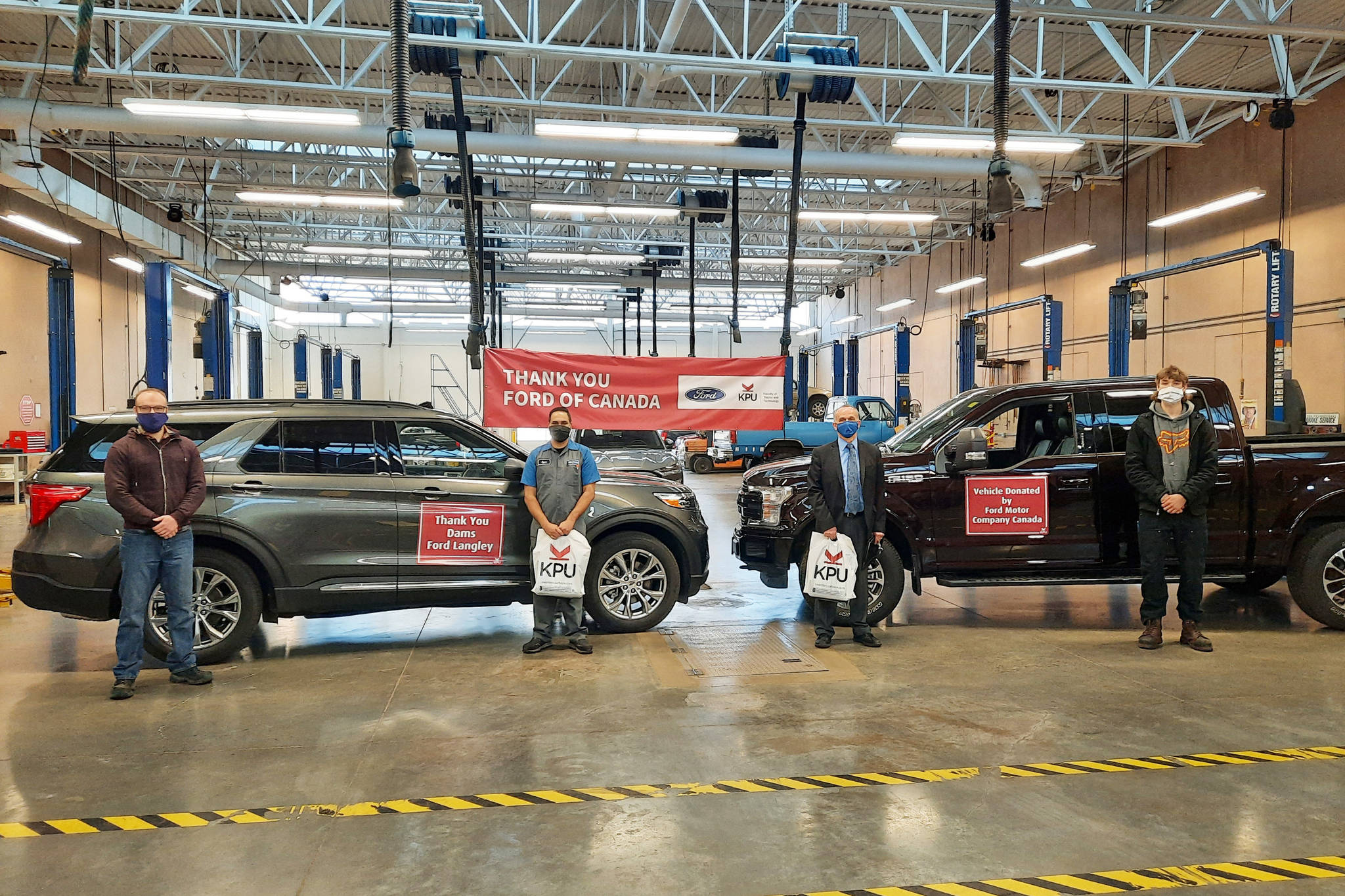 A 2020 Ford Explorer and Ford F-150 were donated to KPU's auto training program, based in Cloverdale. (Special to Black Press Media)