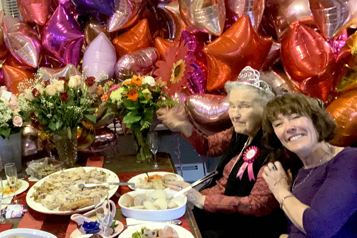 Aldergrove resident Trudie Sharp turned 99 last Friday, surrounded by family and red balloons for each year she has been alive. (Barb Sharp/Special to The Star)