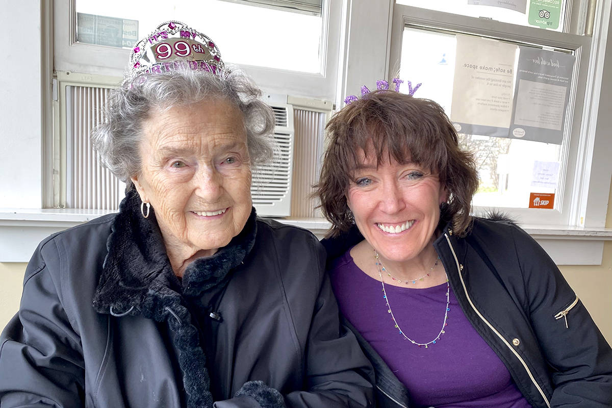 Aldergrove resident Trudie Sharp turned 99 last Friday, with the help of her daughter Barb who threw a balloon-filled party for her. (Special to The Star)