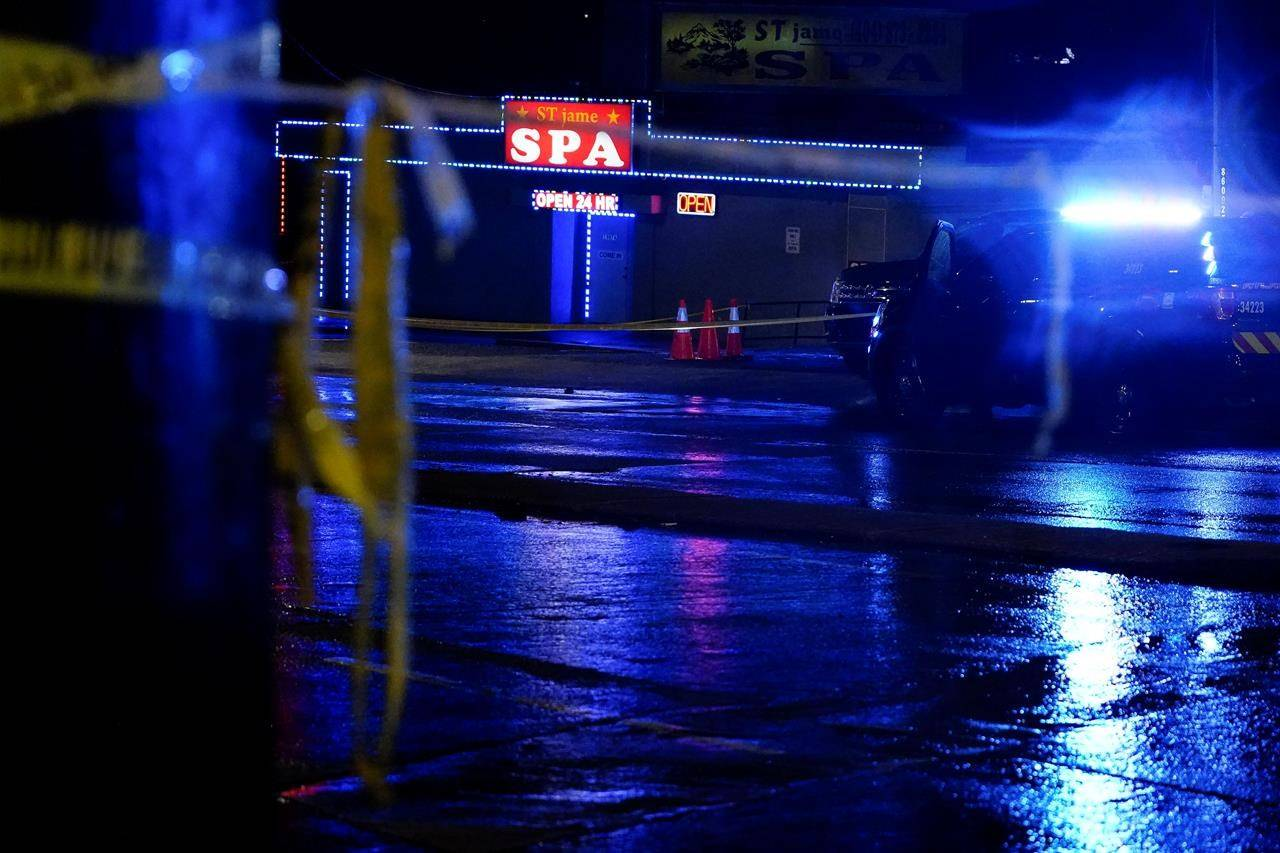 A massage parlour is seen after a shooting, late Tuesday, March 16, 2021, in Atlanta. Amy Go says she was saddened to hear the news about the shootings in Atlanta that left six Asian American women dead, but as an Asian Canadian women, she wasn't surprised. THE CANADIAN PRESS/AP, Brynn Anderson