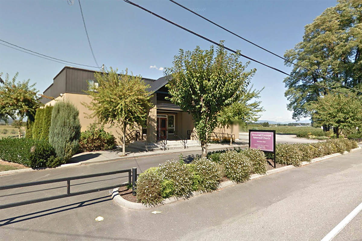 Immanuel Covenant Reformed Church at 35063 Page Rd. in Abbotsford is among three Fraser Valley churches that sought to hold in-person services amid the COVID-19 pandemic while gatherings were banned by public health orders. (Google Maps)