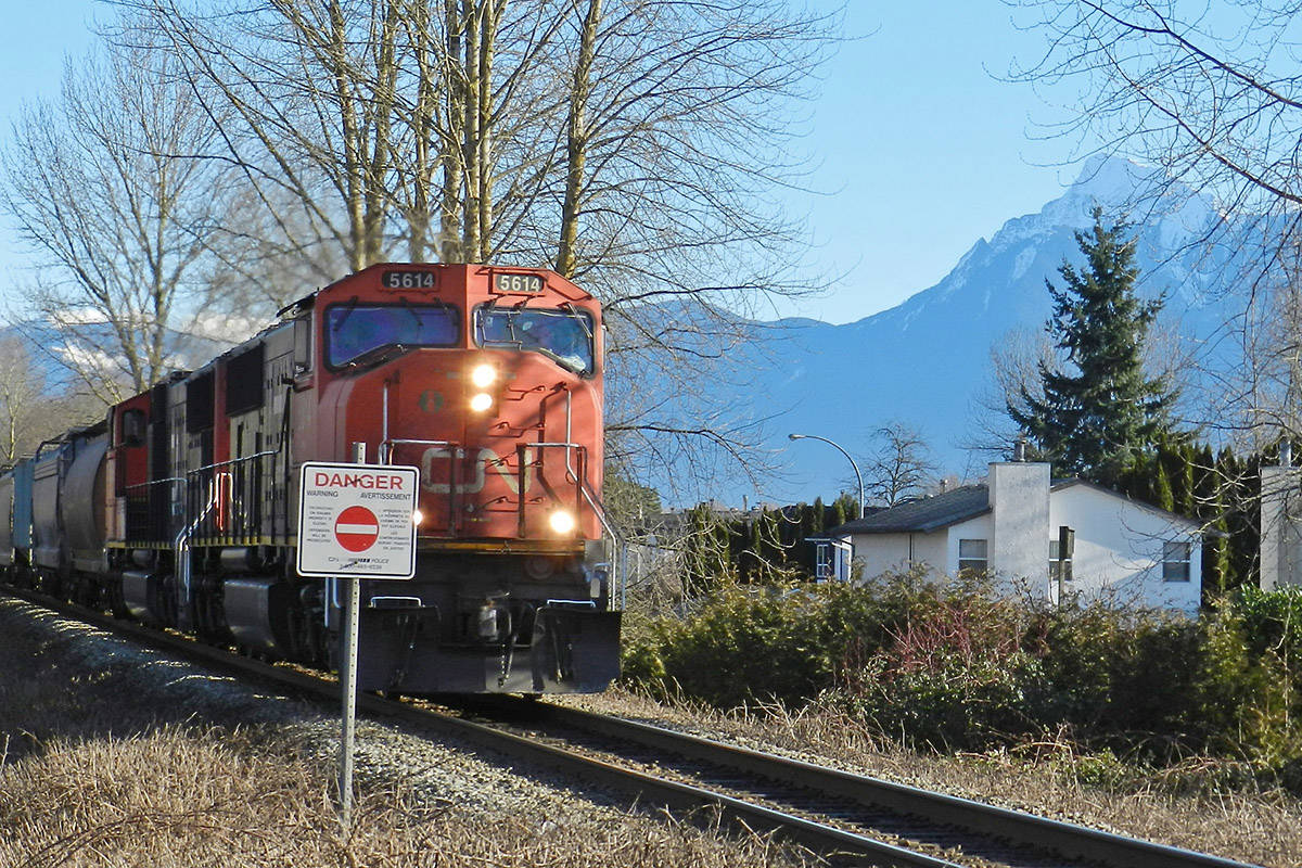 A train zips through Chilliwack on Jan. 23, 2014. CN Police Service is reminding people that trespassing on railway property is illegal. (Chilliwack Progress file)