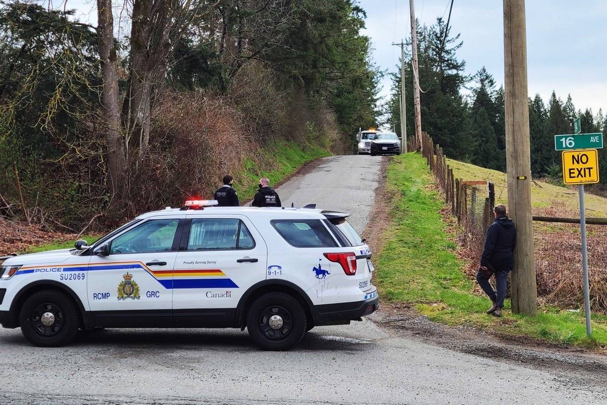 Surrey RCMP were at 194 Street and 16 Avenue Friday (March 19, 2021) dealing with a burned-out vehicle. The file is suspicious, police say. (Nick Greenizan photo)