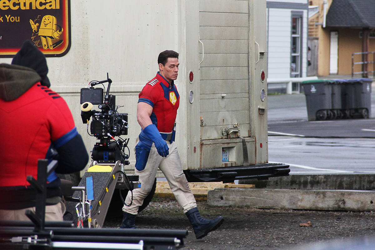 John Cena is seen filming the new HBO Max series Peacemaker in Cloverdale March 19. (Photo: Malin Jordan)