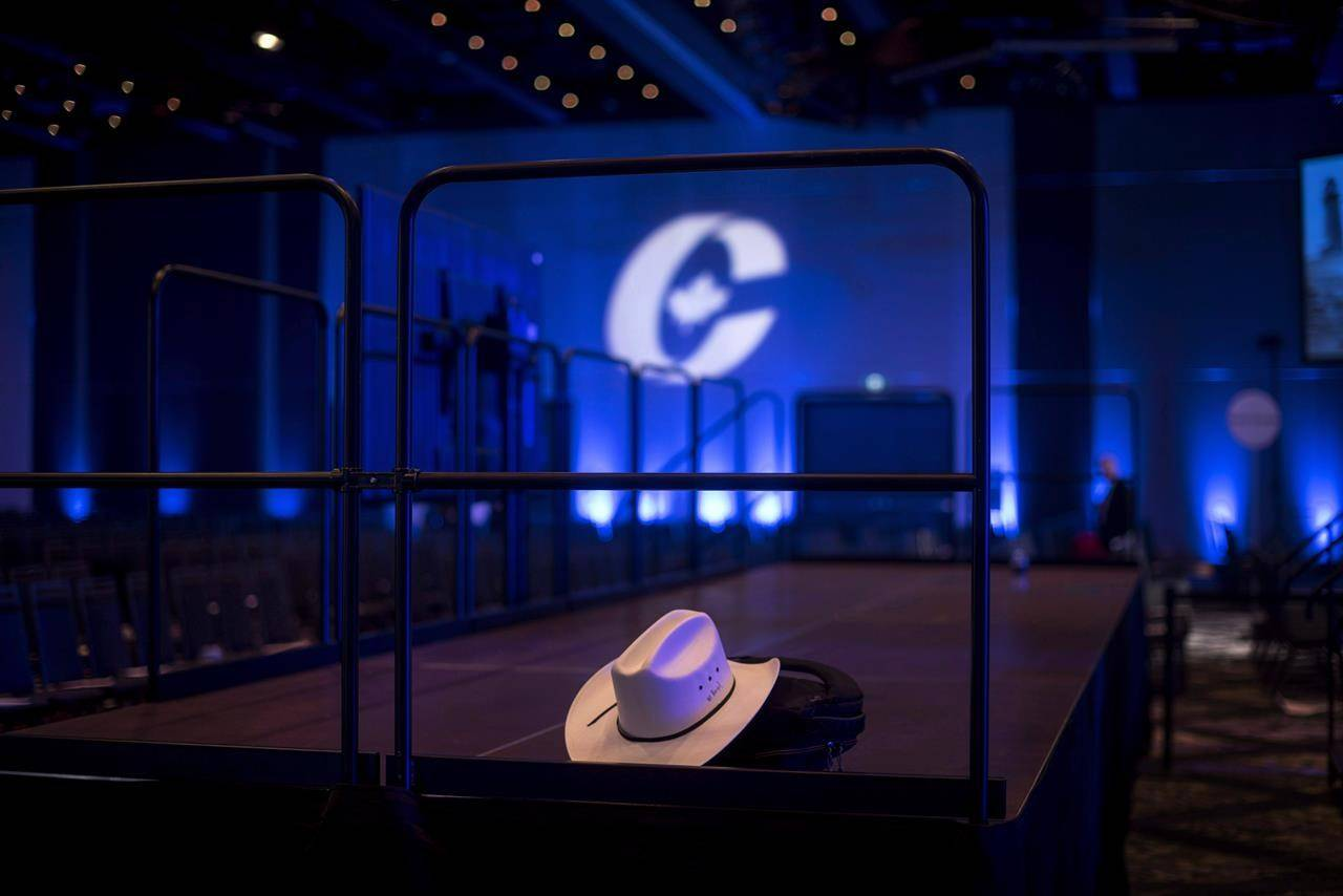 A cowboy hat is left inside an empty ballroom at the Conservative national convention in Halifax on Saturday, August 25, 2018. Card-carrying federal Conservatives are heading into day two of a virtual convention aimed at getting the party ready for the next election. THE CANADIAN PRESS/Darren Calabrese