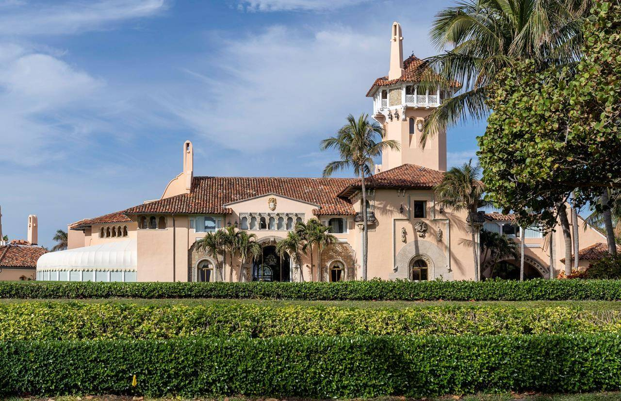 FILE - In this Jan. 18, 2021, file photo, Mar-a-Lago in Palm Beach, Fla. Former President Donald Trump's Palm Beach club has been partially closed because of a COVID outbreak. (Greg Lovett/The Palm Beach Post via AP)