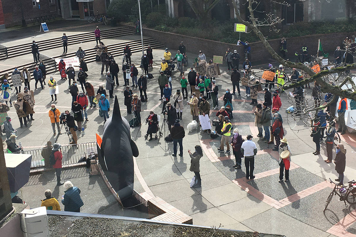 Overhead view of Forest March BC rally in Centennial Square on Friday, March 19. (Don Descoteau/News Staff)
