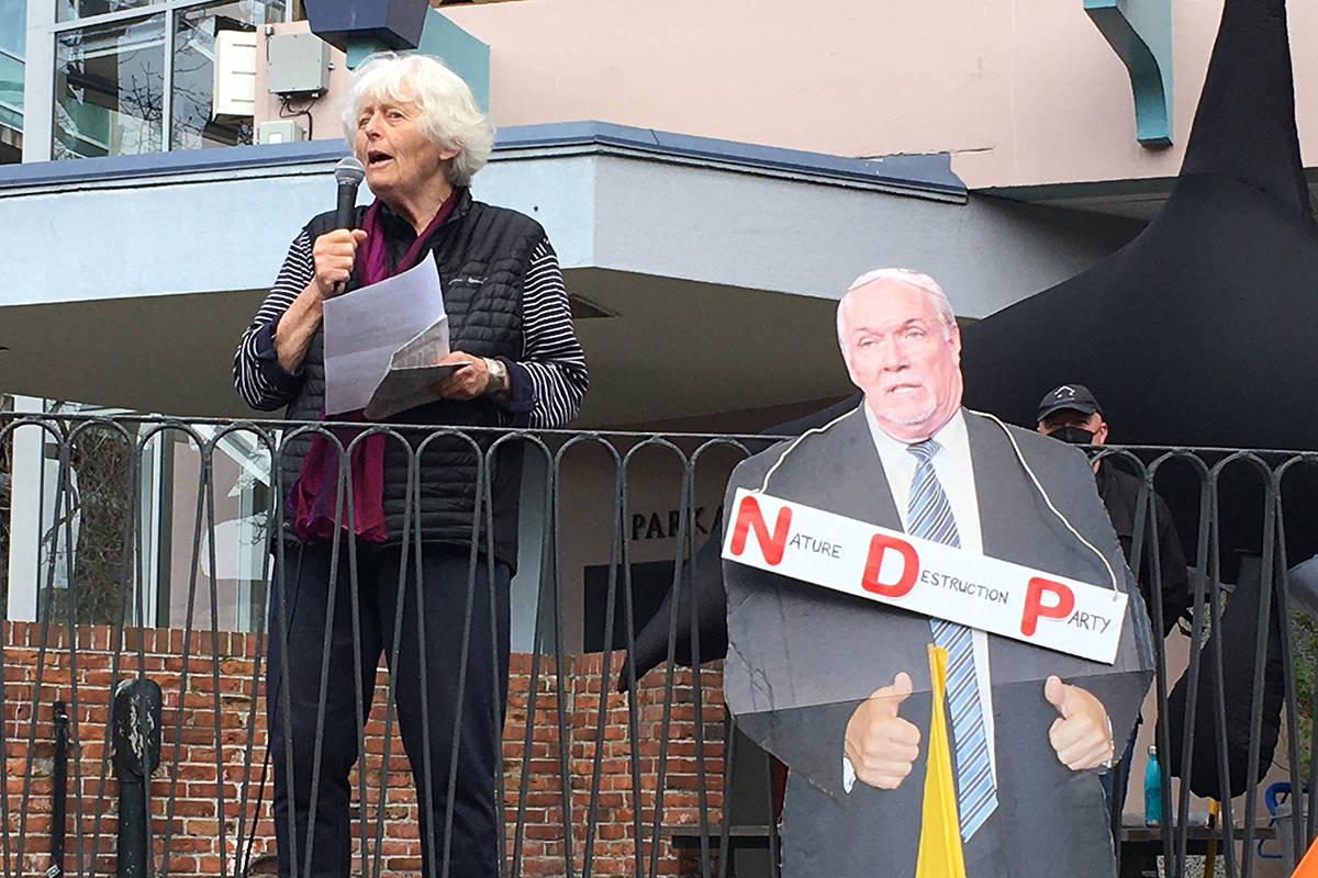 Longtime environmental advocate Vicky Husband speaks at a ForestMarchBC rally on Friday in Victoria's Centennial Square. (Don Descoteau/News Staff)