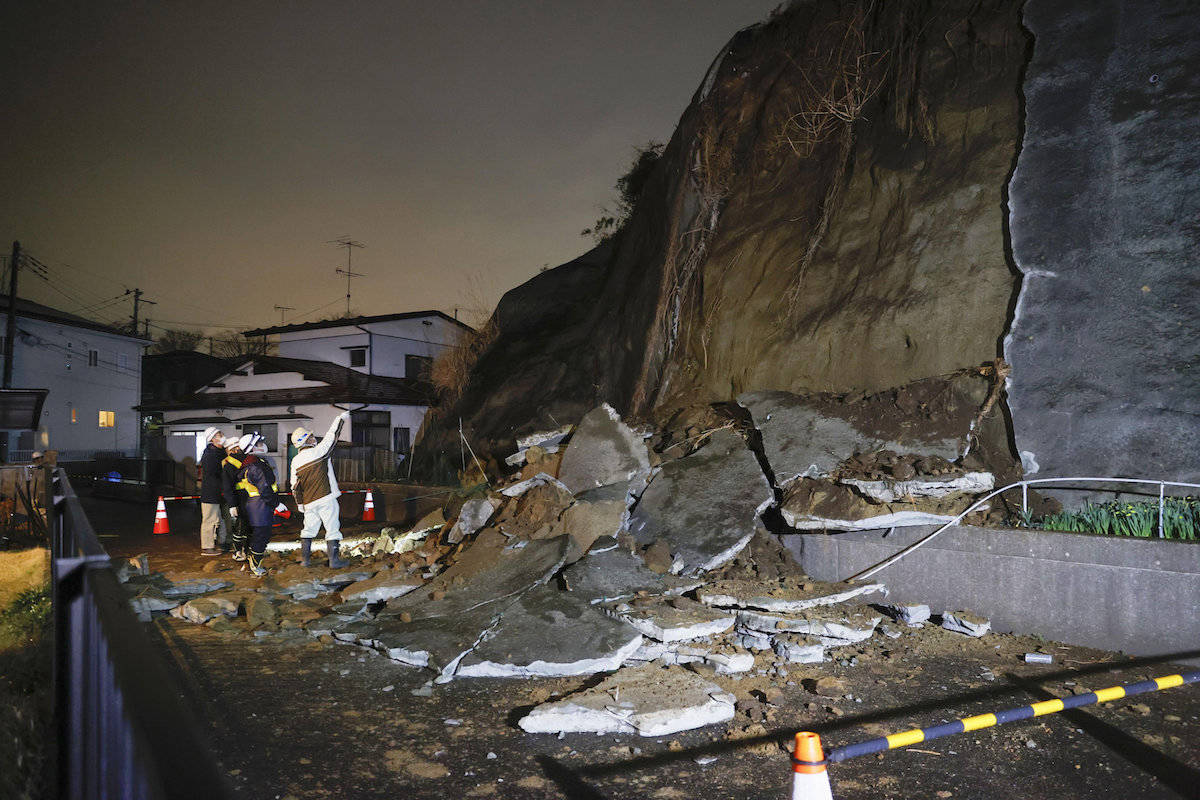 A collapsed section of a cliff is seen in Shiogama, Miyagi Prefecture, northern Japan Saturday March 20, 2021, after a powerful earthquake struck northeastern Japan. (Kyodo News via AP)