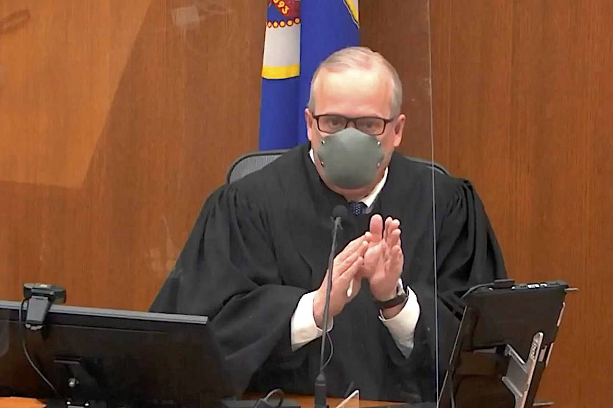 Hennepin County Judge PeterCahill presides over pretrial motions before jury selection in the trial of former Minneapolis police officer Derek Chauvin on Tuesday, March 9, 2021 at the Hennepin County Courthouse in Minneapolis. (Court TV, via AP, Pool)