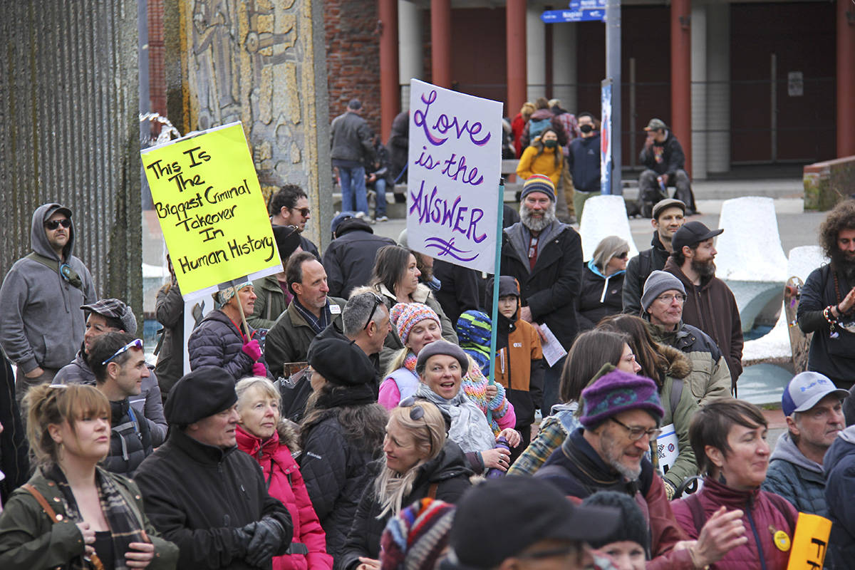 People gathered in Centennial Square February 27 to protest COVID-19 restrictions. Another rally is expected March 20. (Black Press Media file photo)