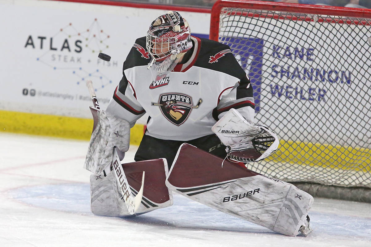 Recently returned goaltender Trent Miner has been named to the roster of the Vancouver Giants for the WHL 'hub' series that gets underway on Friday, March 26 (Rik Fedyck/Vancouver Giants)