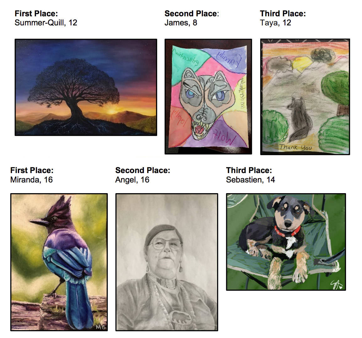 The winners' artwork from the Xyólheméylh Gratitude Art Contest will be turned into thank-you cards for the Fraser Valley Aboriginal Children and Family Services Society. (Submitted)