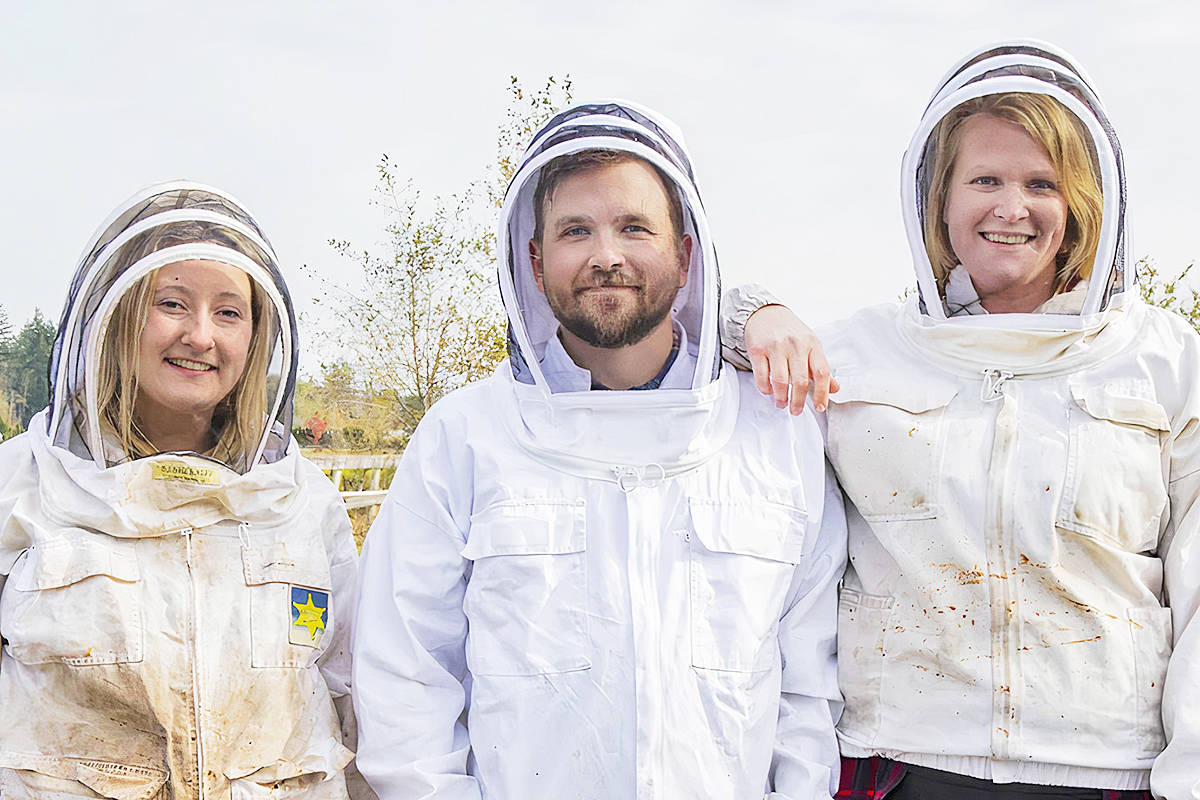 The trio behind Corbicula Pollen in Langley are Bee pollen expert Casey Aelbers (L), Jason Essaunce and Carolyn Essaunce (R) who founded the first bee pollen business in B.C. (Special to Langley Advance Times)
