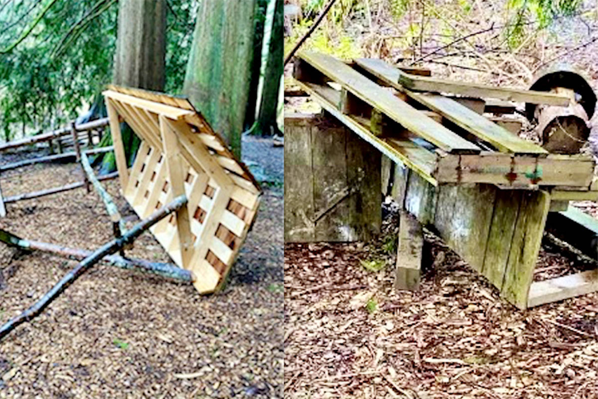 Some of the damage caused by partiers who trashed the Langley Forest School over the March 20, 2021 weekend (Special to Langley Advance Times)