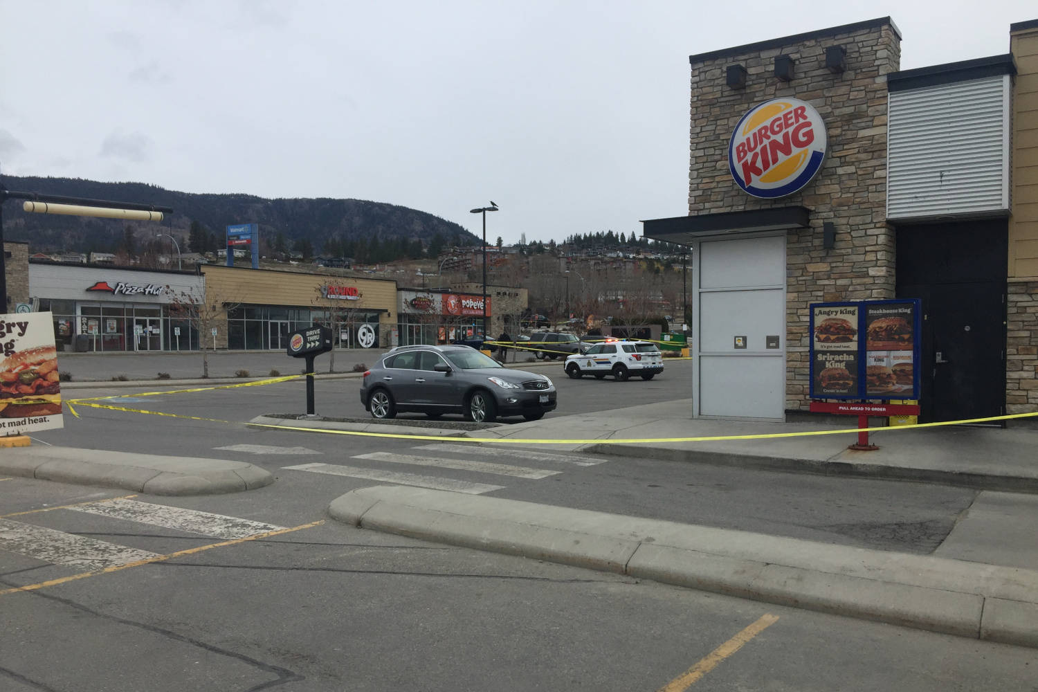 Police have cordoned off an area outside a West Kelowna strip mall near Highway 97 and Elk Road on Sunday morning. (Dave Ogilvie photo)