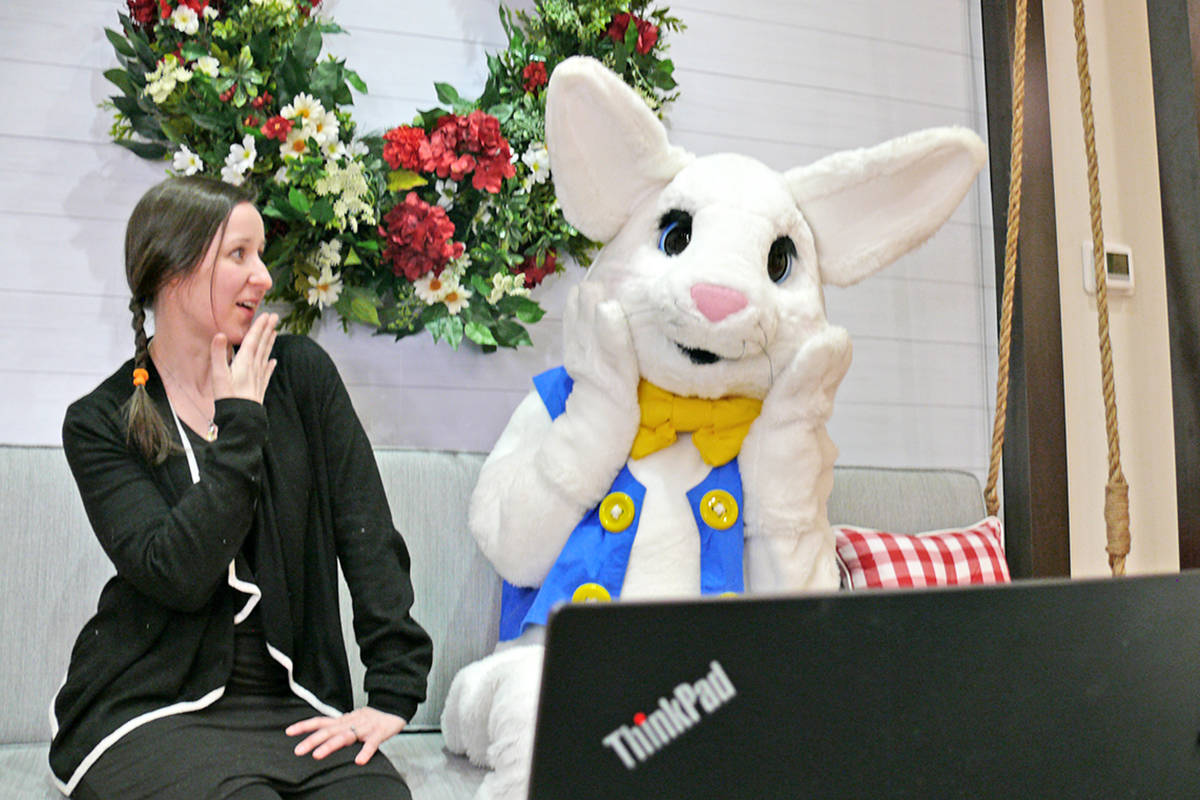 Easter Bunny and friend 'Kat' were meeting kids online via videoconferencing on Sunday, March 21, 2021 at the Willowbrook Shopping Centre in Langley (Dan Ferguson/Langley Advance Times)