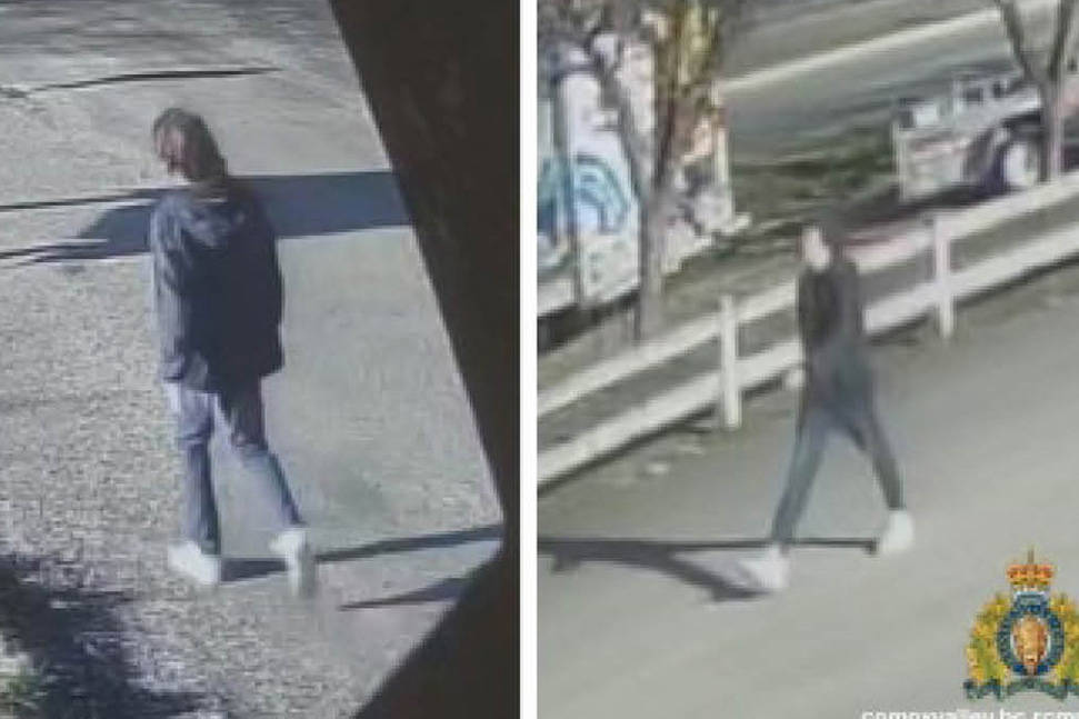 Comox Valley RCMP released these photos of a suspect in a hammer attack along the Rotary Trail in Courtenay, March 15. RCMP say there could be a connection to a second hammer attack, near the Canada Post office on Ryan Road on Saturday, March 20.