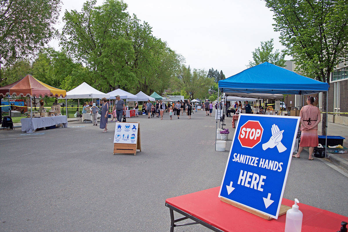Pictured is the entrance to the Cranbrook Farmers' Market on opening day in 2020. COVID-19 protocols, including hand sanitizing, mask wearing and physical distancing, remain in place for this year's market season, which kicks off in May. (Corey Bullock/Cranbrook Townsman file)