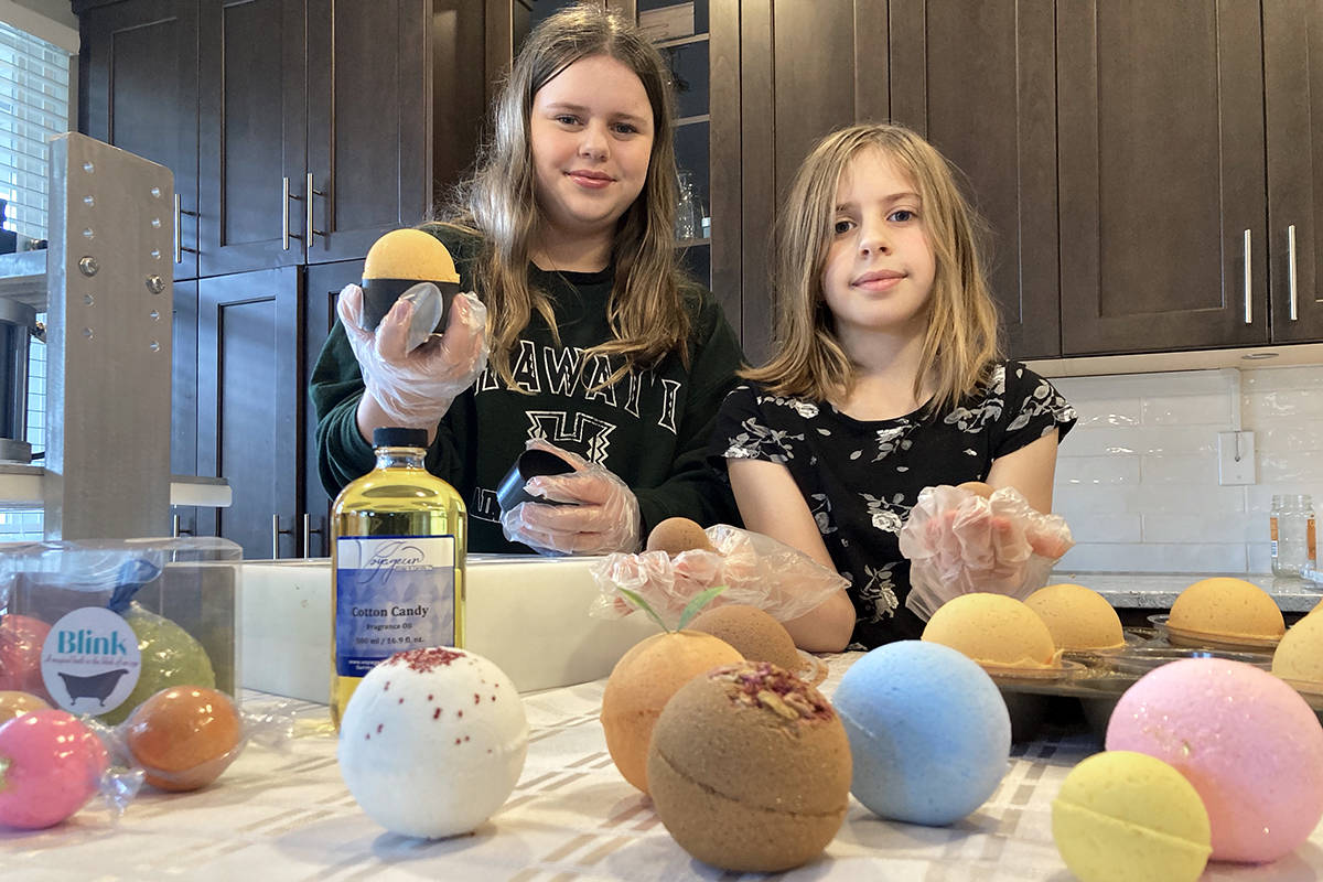 Sisters Linden (L) and Beatrix Koch got into the bath bomb business in January 2021, and business has been good (Special to Langley Advance Times)