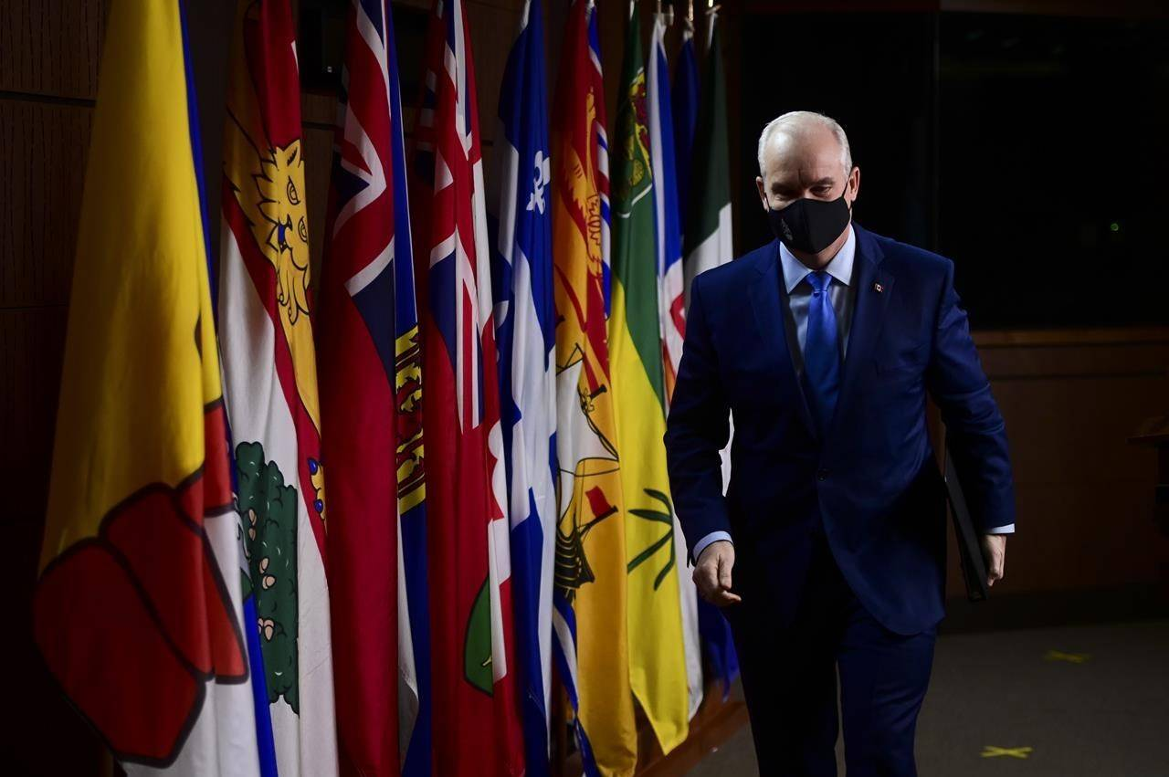 Conservative leader Erin O'Toole holds a press conference on Parliament Hill in Ottawa Tuesday, March 9, 2021. THE CANADIAN PRESS/Sean Kilpatrick