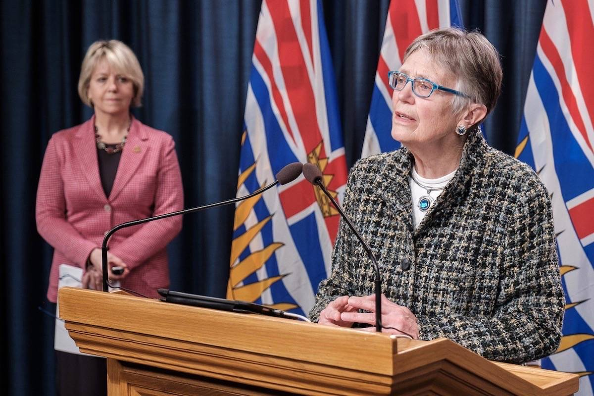 Provincial health officer Dr. Bonnie Henry and Dr. Penny Ballem update B.C.'s COVID-19 vaccination timelines at the B.C. legislature, March 18, 2021. (B.C. government)