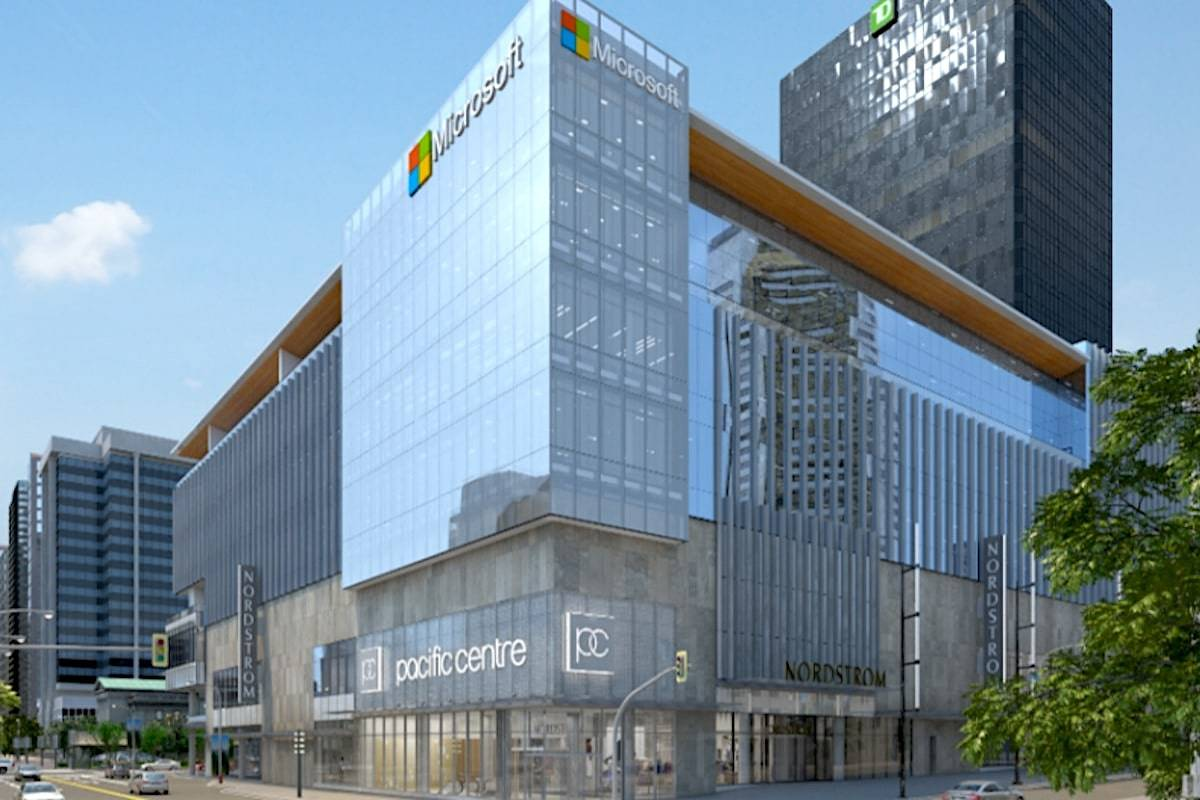 Rendering of Microsoft's Vancouver office at Pacific Centre. (Microsoft)