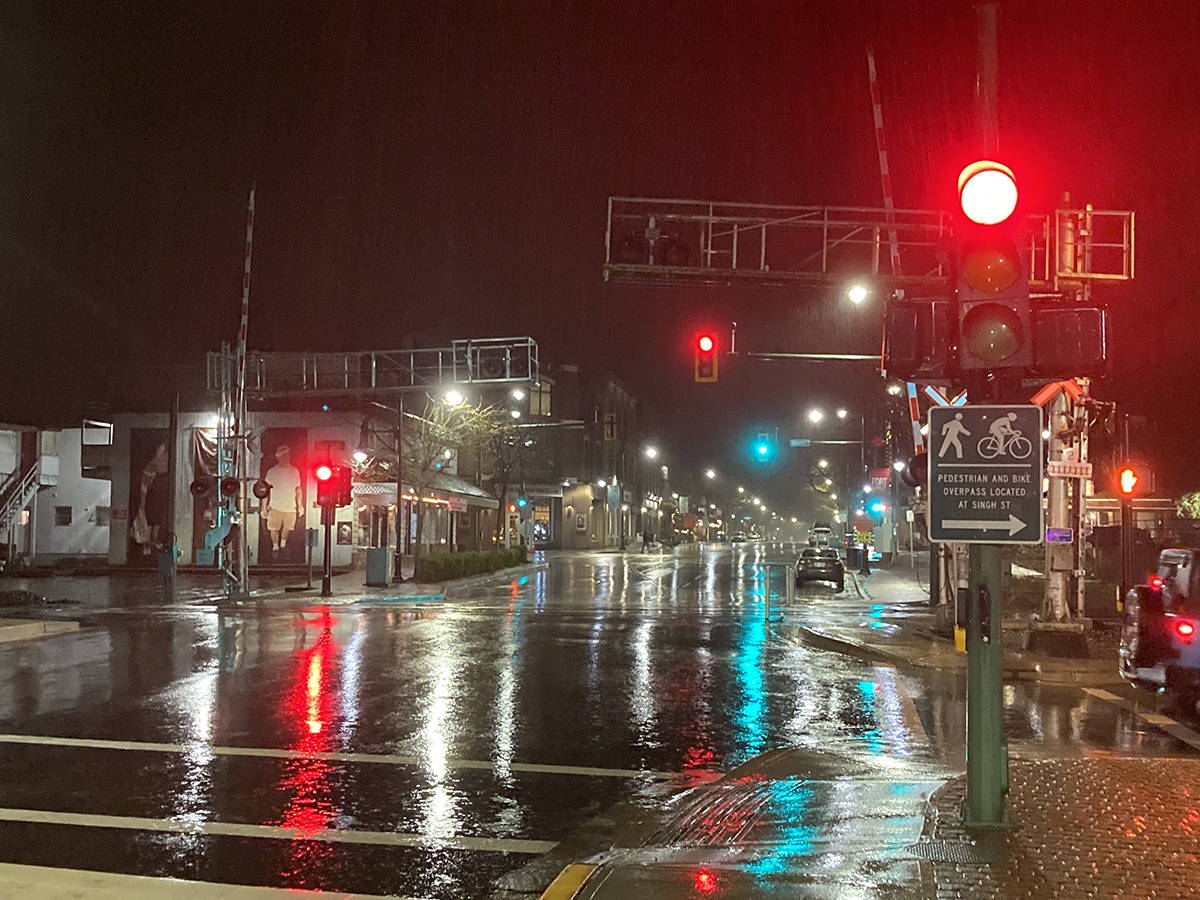 Fort Langley photographer Wout Brouwer took this photo of the new traffic lights at night (Wout Brouwer/Special to Langley Advance Times)