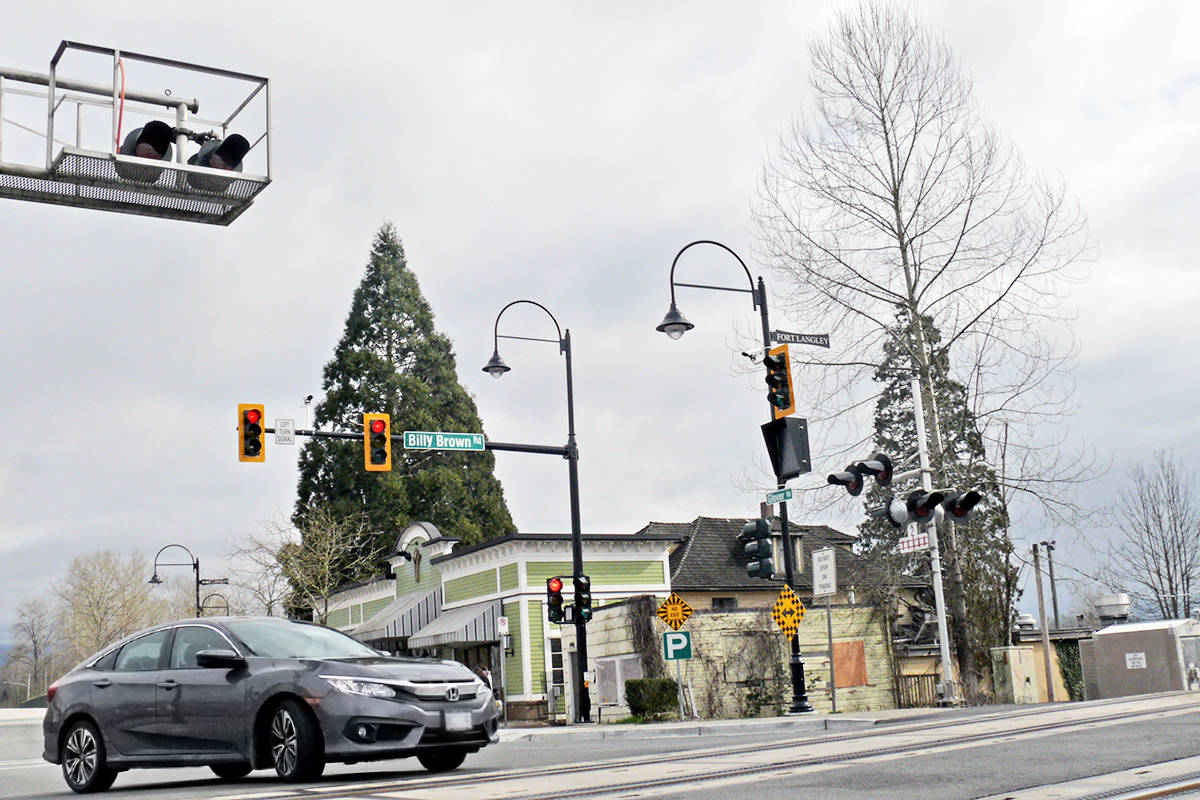 New traffic light at the railroad tracks in Fort Langley, seen here on Tuesday, March 24, 2021, are a response to tougher federal rail safety regulations (Dan Ferguson/Langley Advance Times)