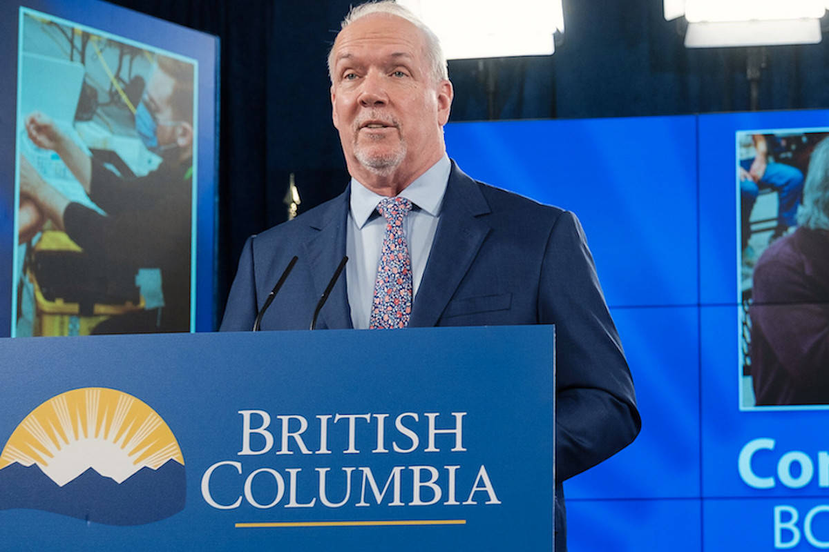 Premier John Horgan says B.C. is looking to follow Saskatchewan's lead in amending labour codes to allow employees' time off to get a COVID-19 vaccine. (Government of B.C.)