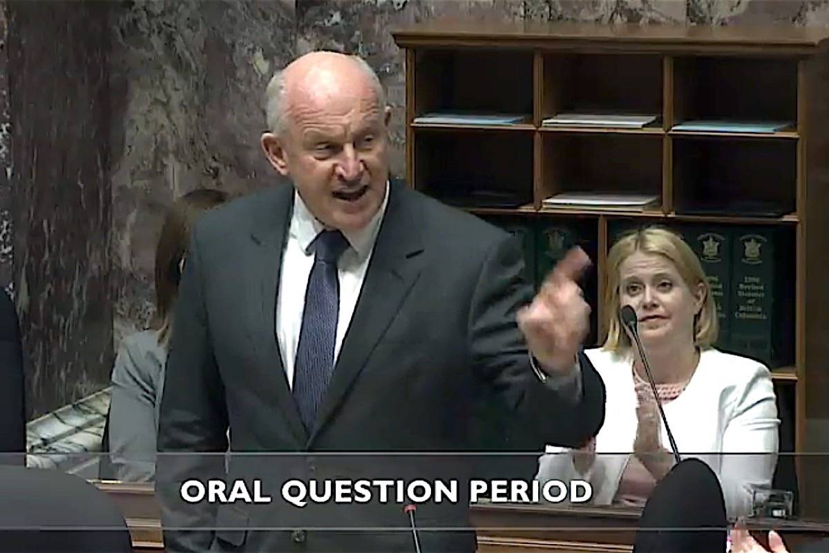 B.C. Public Safety Minister Mike Farnworth defends government actions in the legislature, Feb. 19, 2020. (Hansard TV)