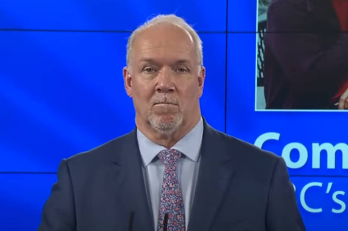 John Horgan, Premier of B.C. praises the efforts of Prince Rupert with the success of the community-wide COVID-19 vaccination clinic in his briefing on March 24. (Photo: supplied)