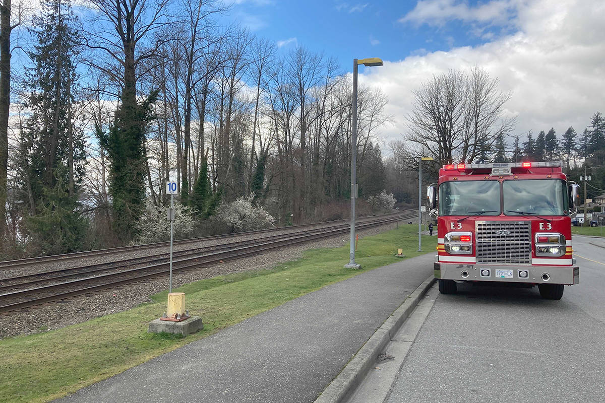 Maple Ridge Fire Department along with BC Ambulance and police responded to a call of a canoeist in the Fraser River midday Thursday, March 25, 2021. (Ronan O'Doherty/Black Press Media)
