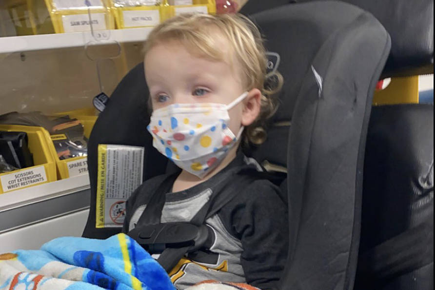 Alexis Coughlan of Abbotsford is questioning why the paramedics took so long and why the firefighters from down the street were not dispatched when her two-year-old son Milo was having a seizure. (Submitted photo)