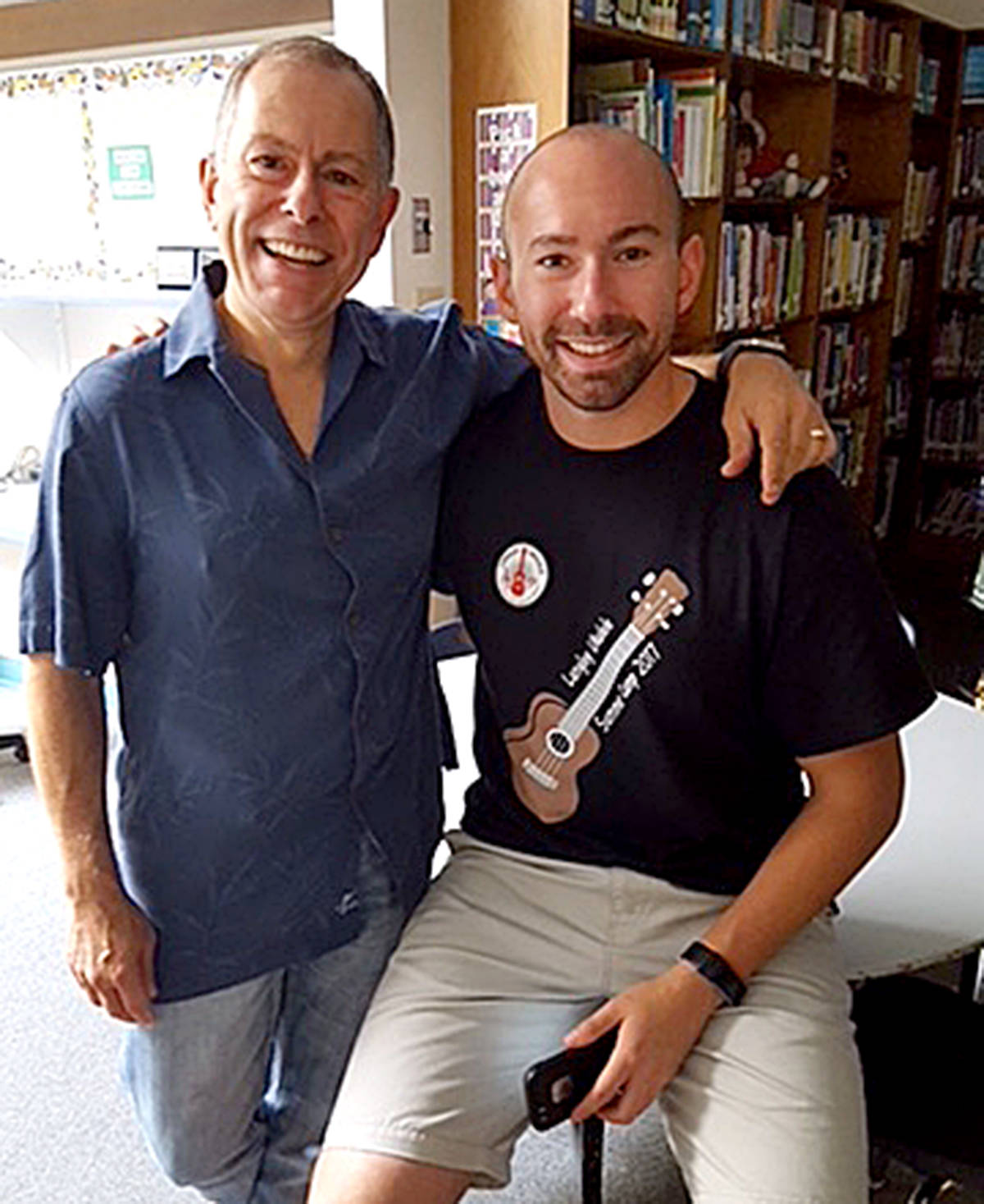 Peter Luongo and hi son, Paul, love sharing their passion for the ukulele with music students of all ages. (Special to Langley Advance Times)