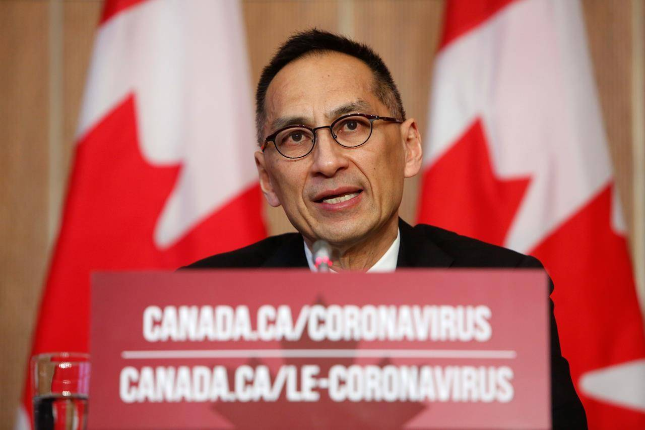 Dr. Howard Njoo, Deputy Chief Public Health Officer at Public Health Agency of Canada, speaks during a COVID-19 press conference at the Sir John A. Macdonald Building in Ottawa on Wednesday, Dec. 23, 2020. THE CANADIAN PRESS/David Kawai