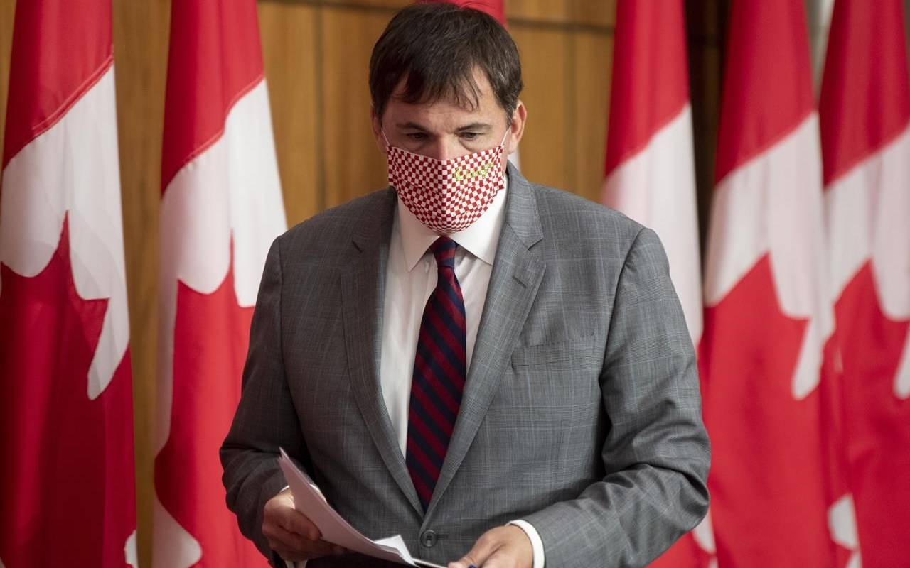 President of the Queen's Privy Council for Canada Dominic LeBlanc arrives at a news conference Tuesday October 6, 2020 in Ottawa. The minority Liberal government is urging opposition parties to speed up passage of a bill aimed at ensuring a federal election could be safely conducted if need be during the COVID-19 pandemic. THE CANADIAN PRESS/Adrian Wyld