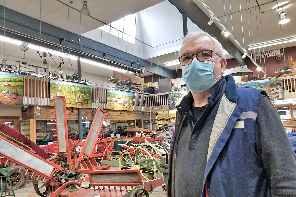 Mike Prangnell said recent renovations at the B.C. Farm Museum in Fort Langley have meant better lighting and heating. He was among the volunteers busy on Saturday, March 27, preparing for its planned reopening on April 1 (Dan Ferguson/Langley Advance Times)