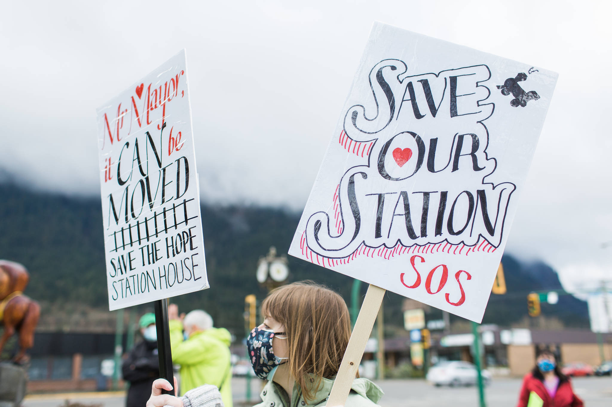 About 80 demonstrators walked through Hope with signs in support of saving the Station House. (Photo/Christian Ward)