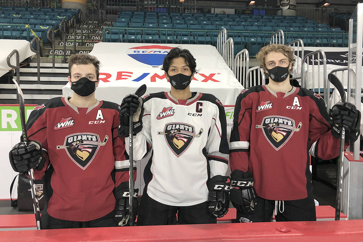 The Leadership Team of the Vancouver Giants for this season will be captain Alex Kannok Leiper (centre) and assistant captains Tristan Nielsen (left) and Eric Florchuk. (Dan O'Connor/Special to the Langley Advance Times)