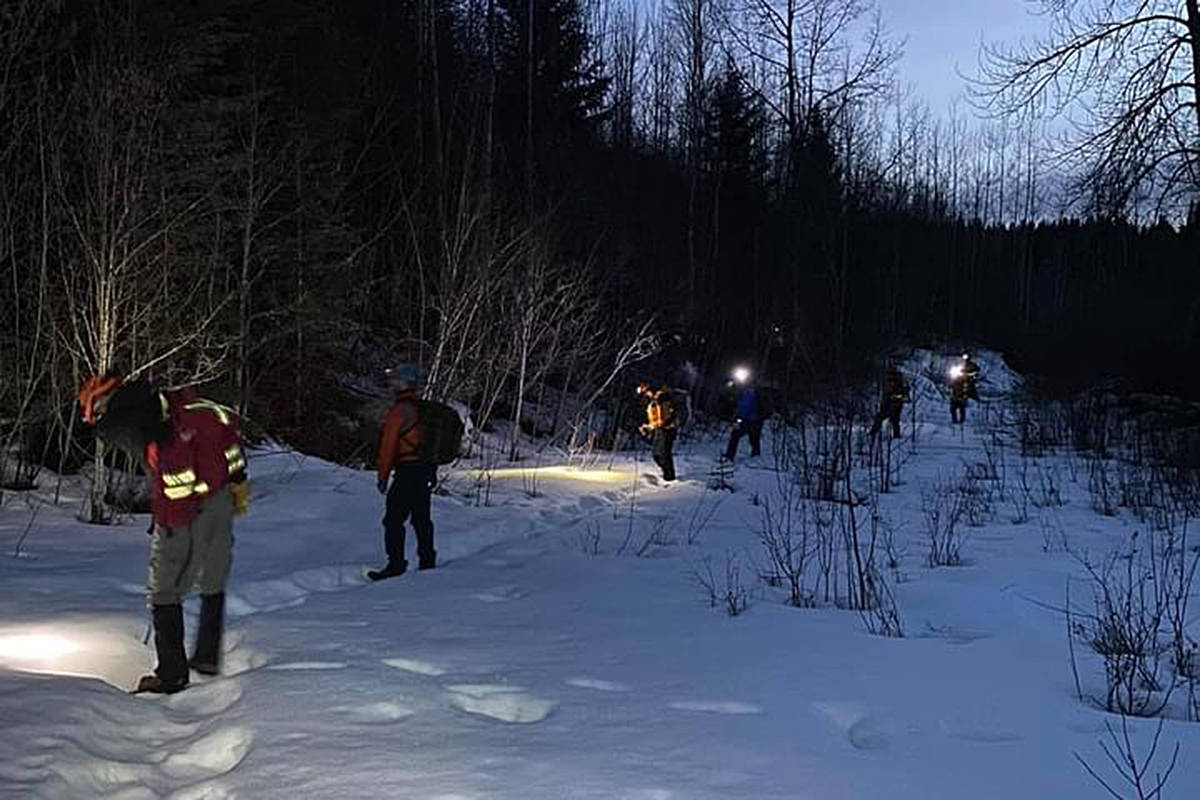 Search and rescue teams looked into the night Thursday, March 26 for a missing boy near Hixon. (Nechako Valley Search and Rescue Facebook photo)