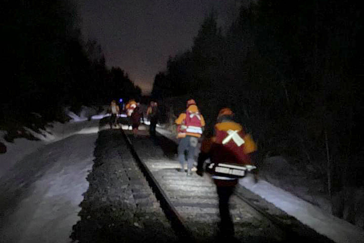 Search and rescue teams followed along train tracks Thursday, March 26 searching for a missing boy named Luke near Hixon. (Nechako Valley Search and Rescue Facebook photo)