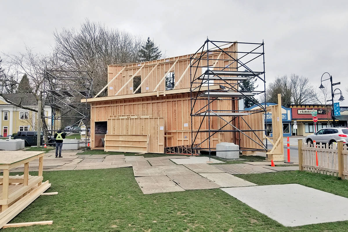 Rear view of building set going up in Fort Langley on Glover Road, seen here on Saturday, March 27, 2021, is being constructed for a film, Sonic the Hedgehog 2. (Dan Ferguson/Langley Advance Times)