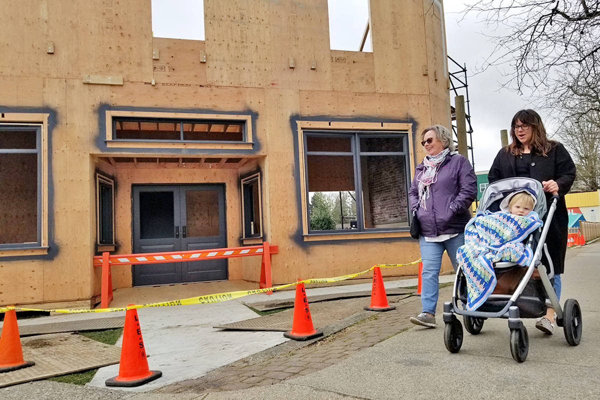 A building going up in Fort Langley on Glover Road, seen here on Saturday, March 27, 2021, is being constructed for a film, Sonic the Hedgehog 2. (Dan Ferguson/Langley Advance Times)