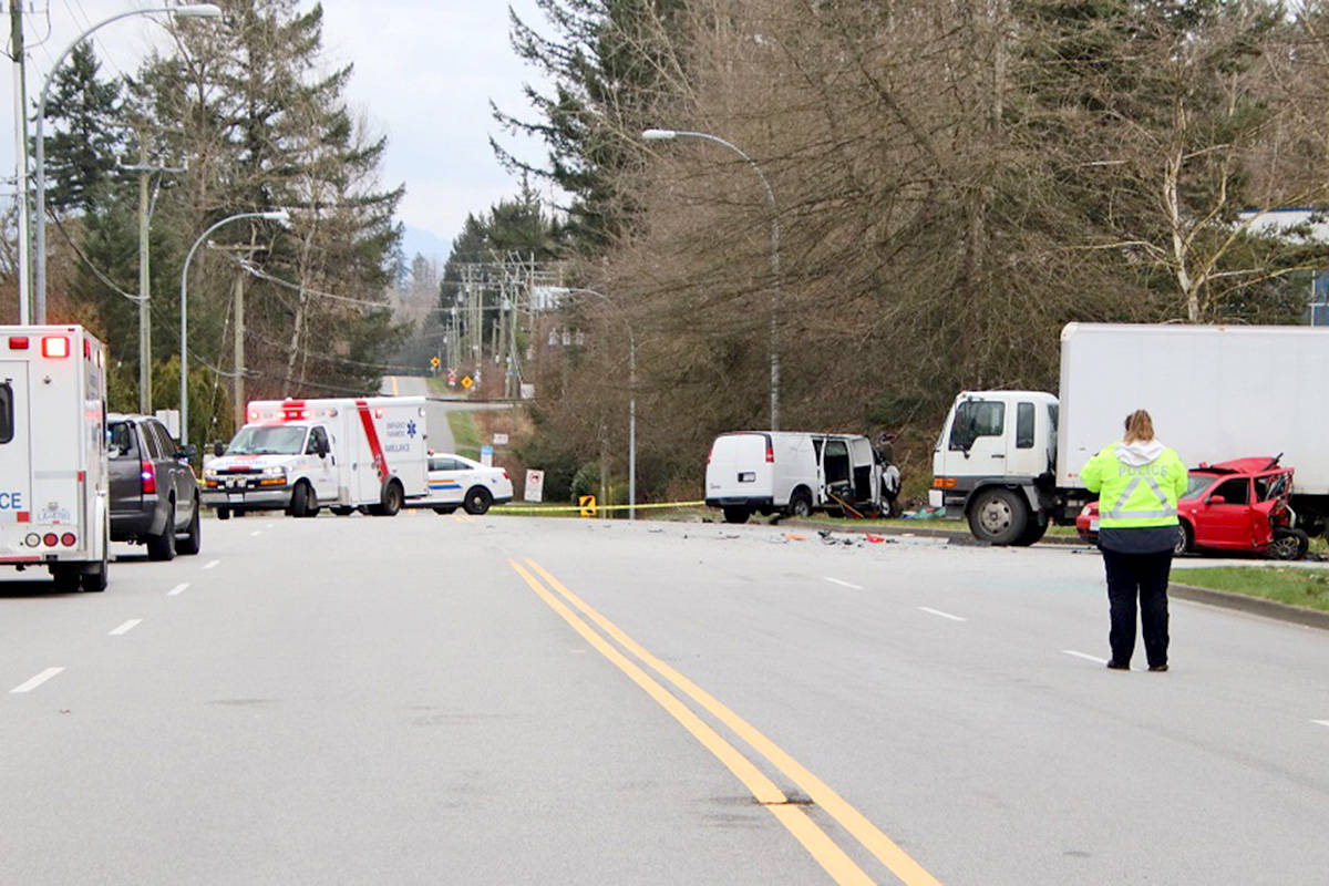 A motor vehicle accident closed 56th Avenue on Friday afternoon for several hours between 58 Crescent through 276 Street. (Shane MacKichan/Special to The Star)