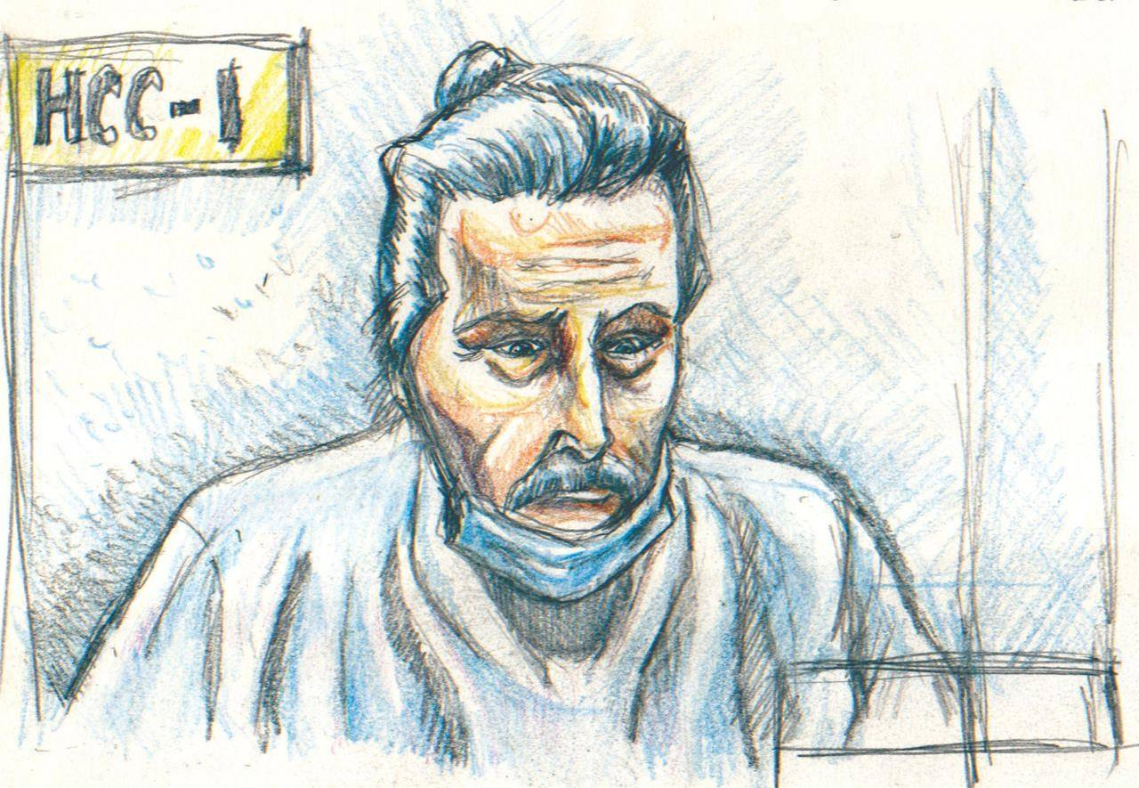 Fashion mogul Peter Nygard is shown during a bail hearing in Winnipeg on Wednesday, Jan. 6, 2021, in this courtroom sketch. THE CANADIAN PRESS/La Liberte Manitoba, Tadens Mpwene - POOL