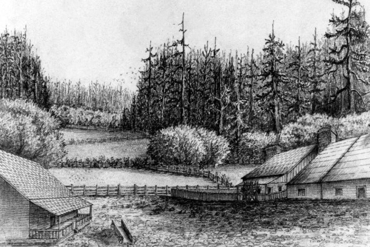 The earliest known drawing of Woodside Farm in the 1850s. (Contributed - Sooke Region Museum)