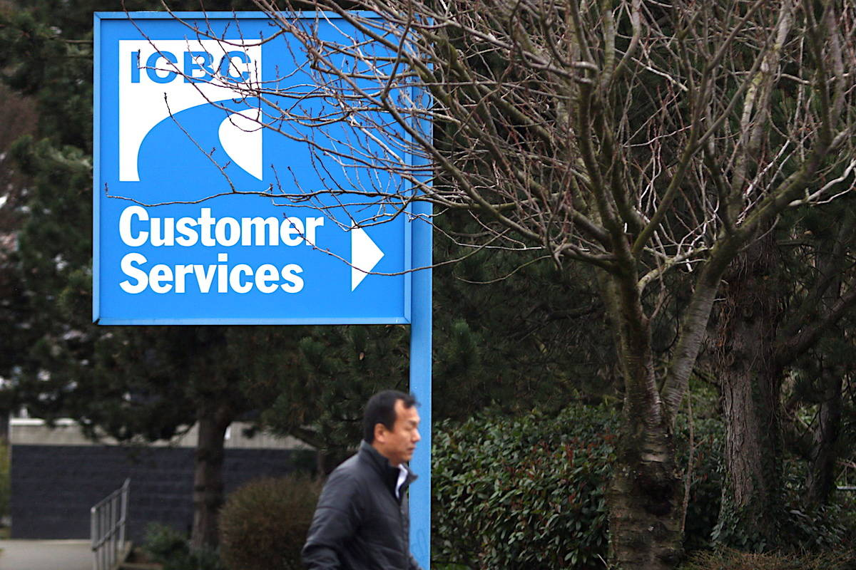 Signage for ICBC is shown in Victoria, B.C. THE CANADIAN PRESS/Chad Hipolito
