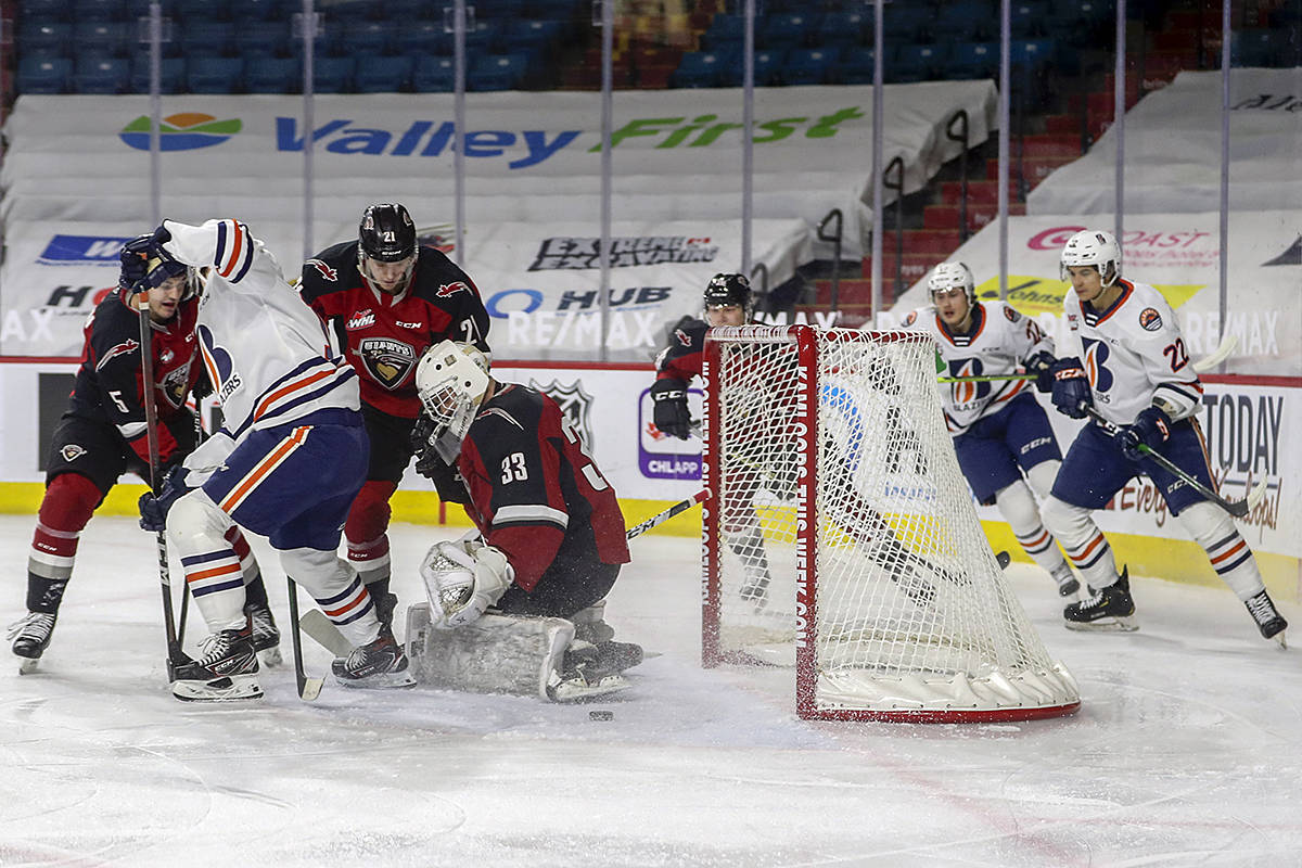 In a Friday, March 26, 2021 season opener game in Kamloops, against the Blazers, the Vancouver Giants fell 7-3. (Allen Douglas/Special to Black Press Media)